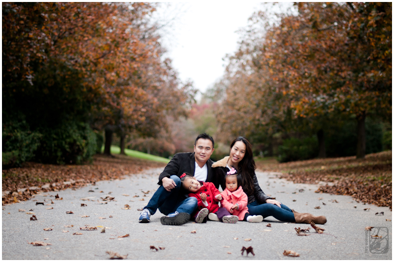 Family sit in the street surrounded by fall trees during the fall family portraits in old